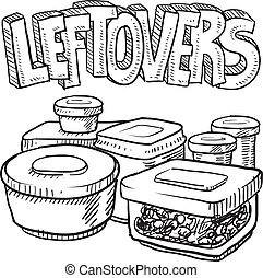 Doodle style leftovers in plastic containers illustration from holiday meals and text message. Vector format.