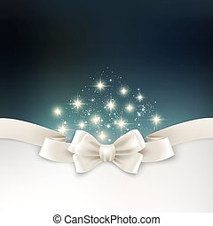 Holiday light Christmas background with white silk bow -...