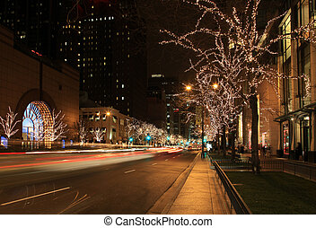 Holiday Lights in the City - Beautiful holiday lights on...