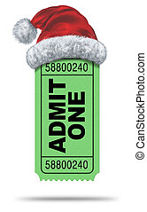 Holiday movies and Christmas movie flicks with a green admit one ticket stub and a santaclause hat as an entertainment symbol of the winter film industry cinematic releases on a white background.