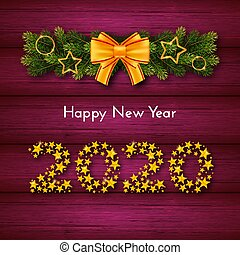 Holiday New Year 2020 gift card with numbers of golden stars, fir garland and bow on pink wood background. Template for a banner, poster, invitation. Vector illustration