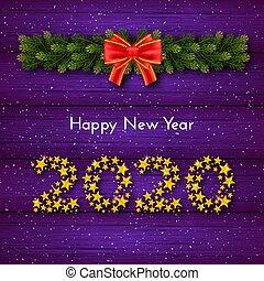 Holiday New Year 2020 gift card with numbers of golden stars, fir garland and red bow on violet wood background. Template for a banner, poster, invitation. Vector illustration