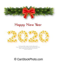 Holiday New Year 2020 gift card with numbers of golden stars, fir garland and red bow on white background. Template for a banner, poster, invitation. Vector illustration