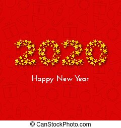 Holiday New Year 2020 gift card with numbers of golden stars on red background with Christmas icons. Template for a banner, poster, invitation. Vector illustration