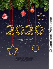 Holiday New Year gift card with numbers 2020 of golden stars, fir tree branches and Christmas balls on dark background. Template for a banner, poster, invitation. Vector illustration