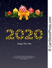 Holiday New Year gift card with numbers 2020 of golden stars, fir tree branches garland and Christmas balls on dark background. Template for a banner, poster, invitation. Vector illustration