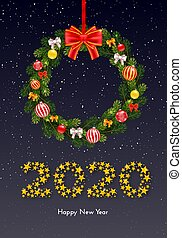 Holiday New Year gift card with numbers 2020 of golden stars, fir tree branches wreath and Christmas balls on dark background. Template for a banner, poster, invitation. Vector illustration