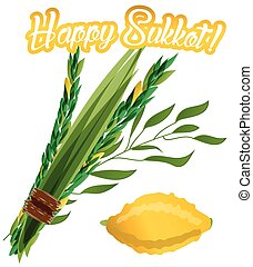 Holiday of Sukkot vector - Vector illustration of four...
