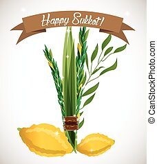 Holiday of Sukkot vector