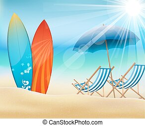 Holiday on beach - Illustration of holiday on beach with...