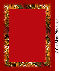 Holiday on Red - Christmas border on red.