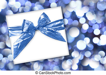 Holiday or Birthday Gift on Abstract Background - Blue...