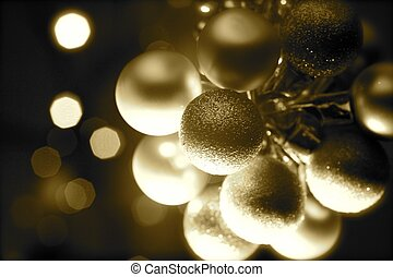 Holiday Ornaments Sephia Colors. Dark with Spot Lights. Golden Christmas Ornaments