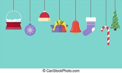 holiday., ornement, noël, fond, heureux