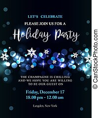 Holiday party invitation with silver-blue lights and text....