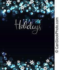 Holiday party invitation on silver-blue background