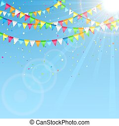 Holiday pennants on sky background