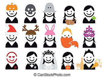 holiday people icon set, vector