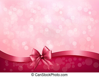 Holiday pink background with gift glossy bow and ribbon. Vector
