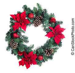 Holiday Poinsettia Christmas wreath isolated on white background