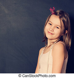 Holiday portrait of young girl with cute smile