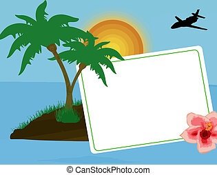 Holiday postcard with palm trees, flower and a plane flying...