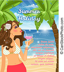 Holiday poster with woman - Summer Holiday poster vector ...