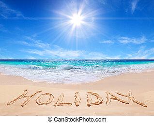 """""""holiday"""", praia, palavra"""