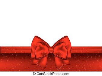 Holiday red background with gift bow and ribbon.