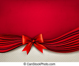 Holiday red background with gift glossy bow and ribbon. Vector illustration.