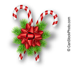 Holiday red bow, fir tree branches, candy canes on white background. Template for a banner, poster, invitation