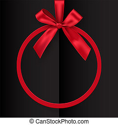 Holiday red round frame with bow and ribbon on black opened book background. Vector postcard or greeting card template.
