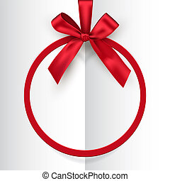 Holiday red round frame with bow and ribbon on white opened book background. Vector postcard or greeting card template.