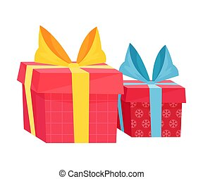Holiday Related Box With Presents And Surprises Wrapped In Colorful Paper