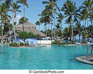 holiday resort with big pool at the Dominican Republic, a island of Hispanola wich is a part of the Greater Antilles archipelago in the Carribean region