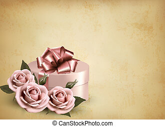 Holiday retro background with pink roses and gift box. Vector illustration