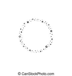 Holiday round frame with stars and glitter dots on white background.