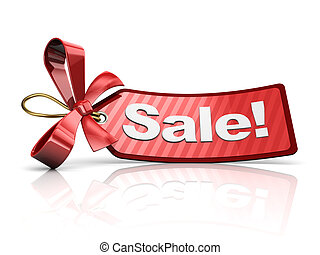 holiday sale - 3d illustration of holiday discount tag, over...