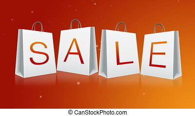 Holiday Sale - Sale Shopping Bags with Snow flake falling in...