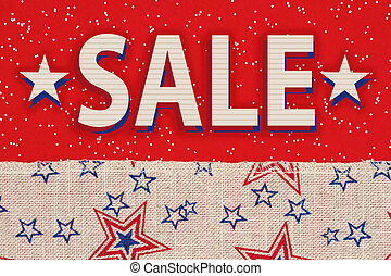 Holiday sale type message with retro USA stars and stripes burlap ribbon