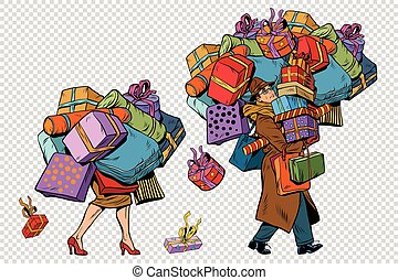 Holiday sales, a couple man and woman with shopping, pop art...