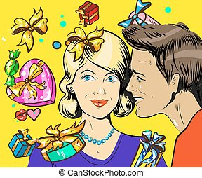 Holiday sales, a couple man and woman with wisper, pop art retro vector illustration
