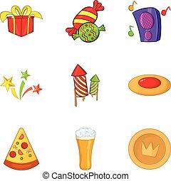 Holiday salute icons set, cartoon style