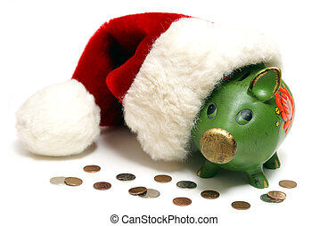 A conceptual financial shot of saving money for the holidays.