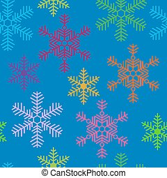 Holiday seamless pattern with different snowflakes