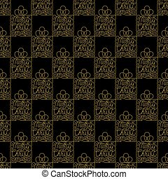 Holiday seamless pattern with golden hand lettering Merry Christmas on black background