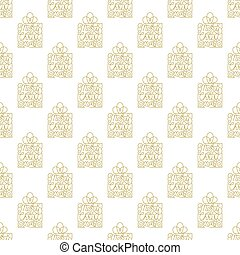 Holiday seamless pattern with golden hand lettering Merry Christmas on white background