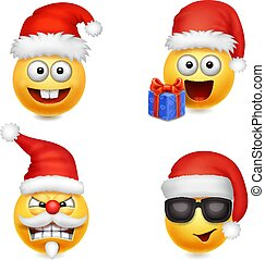 Holiday Set of Smiley face emoticons christmas Santa Claus