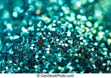 Holiday shiny blurry turquoise background. Macro