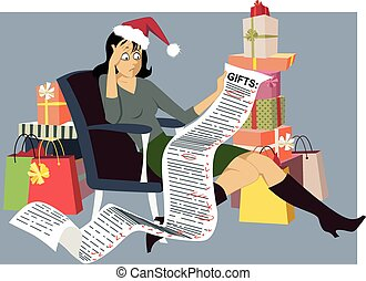 Holiday Shopping - Exhausted woman in a Santa hat sitting...